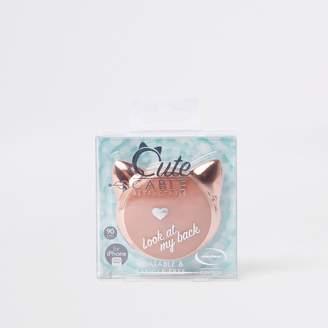 River Island Womens Rose gold tone retractable cat iphone charger
