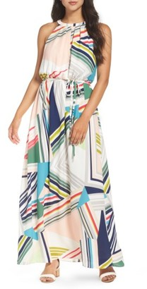 Women's Adrianna Papell Stripe Maze Pleated Maxi Dress $150 thestylecure.com