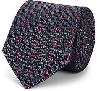 Barneys New York Men's Floral-Print Mélange Silk Necktie - Navy