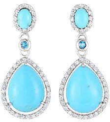 QVC Pear-Shaped Turquoise & Gemstone Drop Earrings,