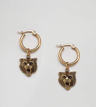 Regal Rose 18K Gold Plated Lion Head Hoop Earrings