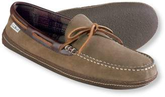 L.L. Bean L.L.Bean Mens Handsewn Slippers, Suede Flannel-Lined