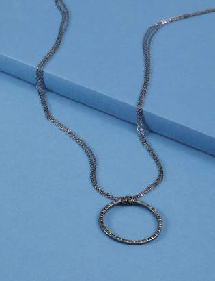 Lane Bryant Long Necklace with Hematite Pave Circle Pendant