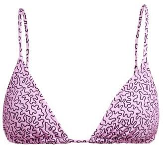 Fisch - Coco Printed Triangle Bikini Top - Womens - Fuchsia