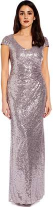 Adrianna Papell Lilac Grey Cap Sleeve Sequin Maxi Dress
