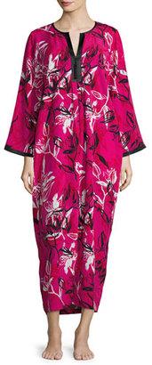 Oscar de la Renta Floral-Print Crepe de Chine Lounge Caftan, Berry $180 thestylecure.com