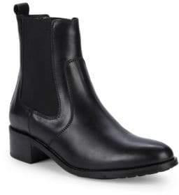 Aquatalia Otilia Leather Stacked Heel Booties