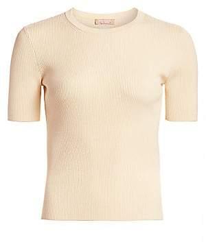 Michael Kors Women's Stretch Cropped Rib-Knit Tee