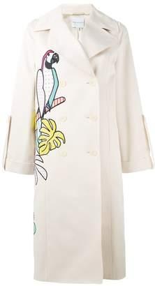 Mira Mikati parrot applique trench coat