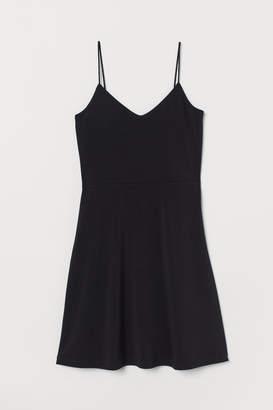 H&M Flared Jersey Dress - Black