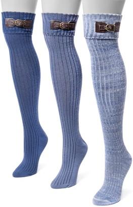 Muk Luks Women's 3-pk. Buckle Cuff Over-the-Knee Socks