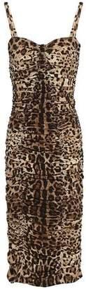 Dolce & Gabbana Ruched Leopard-print Stretch-silk Dress