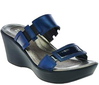 Naot Footwear Leather Double Strap Wedge Sandals - Treasure