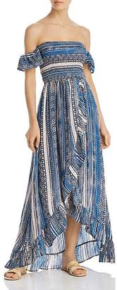 Surf.Gypsy Off-the-Shoulder Smocked Bodice Ruffled Maxi Dress Swim Cover-Up