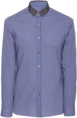 Lanvin Grosgrain-Trimmed Checked Cotton-Poplin Shirt