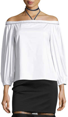 Alexis Karen Off-the-Shoulder Halter Top, White