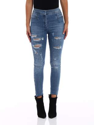 Balmain Ripped High Waisted Skinny Jeans