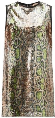 No.21 No. 21 - Fantasia Snake Print Sequinned Dress - Womens - Multi