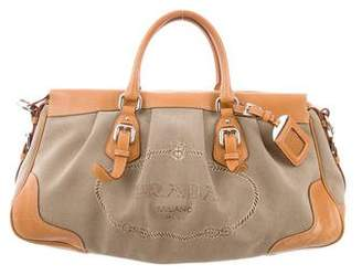 Prada Woven Leather-Trimmed Satchel