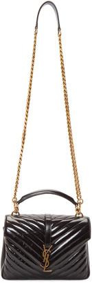 Saint Laurent Black Medium Quilted College Bag $2,450 thestylecure.com