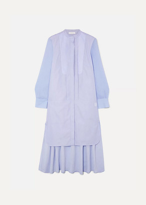Chloé Asymmetric Two-tone Cotton-poplin And Crepe De Chine Midi Dress - Blue