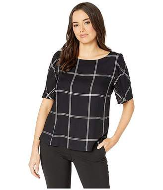 Vince Camuto Open Windowpane Puff Shoulder Blouse