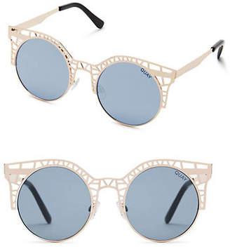 Quay Fleur Round Metallic Sunglasses