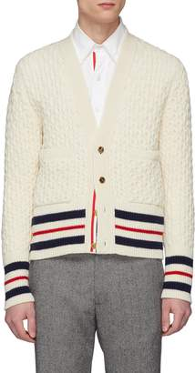 Thom Browne Stripe wool cable knit cardigan