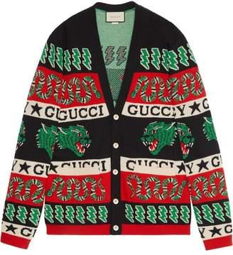 Gucci Wool symbols jacquard cardigan