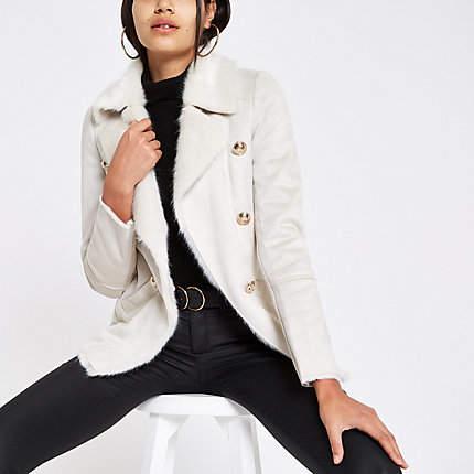 Womens Cream faux shearling chuck on coat