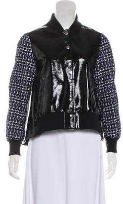 Sacai Luck Gingham-Trimmed Faux Leather Jacket