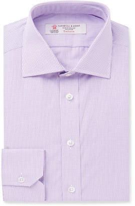 Turnbull & Asser Purple Slim-Fit Cutaway-Collar Micro-Check Cotton-Poplin Shirt