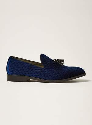 Topman Navy Faux Suede Rana Quilted Loafers