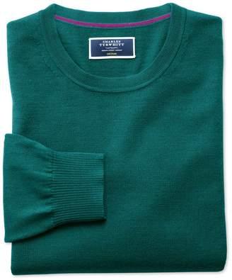 Charles Tyrwhitt Teal Merino Wool Crew Neck Sweater Size Large