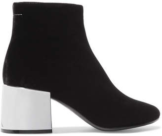 MM6 MAISON MARGIELA Velvet Ankle Boots - Black