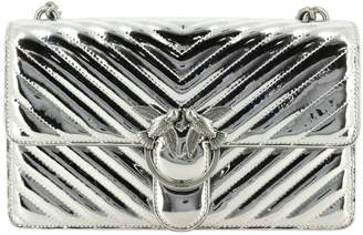 Pinko Crossbody Bags Love Quilting 2 Bag In Mirrored Chevron Synthetic Leather