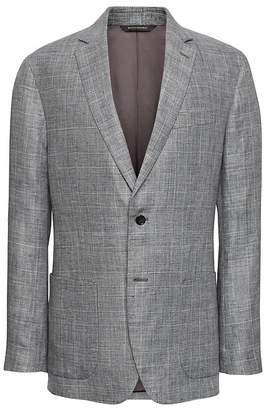 Banana Republic Standard Gray Plaid Linen Suit Jacket
