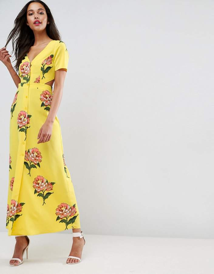 Asos ASOS Maxi Tea Dress with Open Back in Floral Print