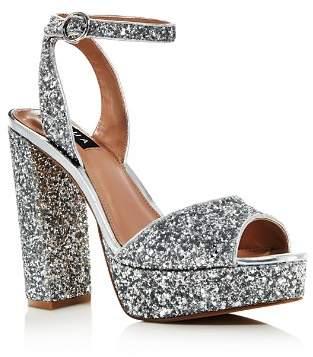 Aqua Women's Mardi Glitter Leather High-Heel Platform Sandals - 100% Exclusive