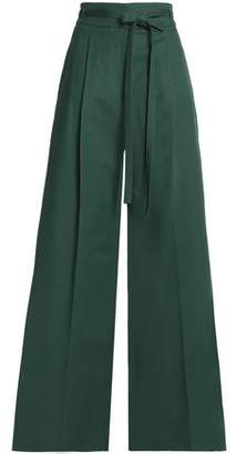Rochas Belted Cotton-Blend Wide-Leg Pants