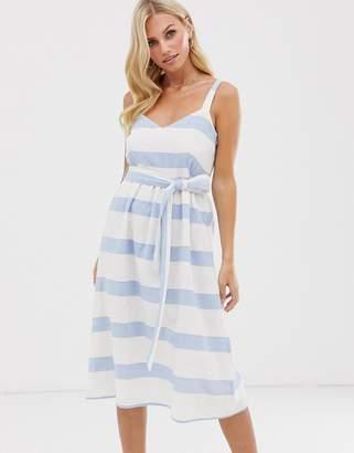 Esprit tie waist linen midi cami dress in blue and white stripe