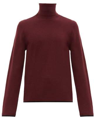 Joseph Tipped Trim Merino Wool Roll Neck Sweater - Mens - Purple