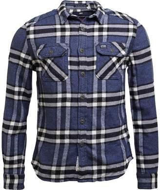 Superdry Mens Milled Flannel Long Sleeve Shirt Marvel Blue Check
