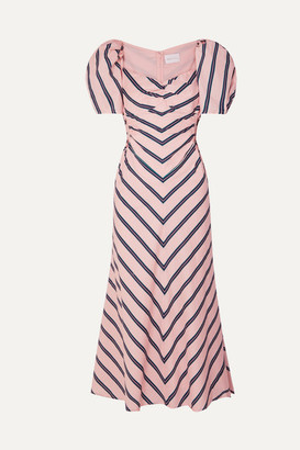 Alice McCall At Last Cutout Striped Cotton-poplin Midi Dress - Pink