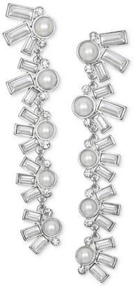 Badgley Mischka Crystal & Imitation Pearl Linear Drop Earrings