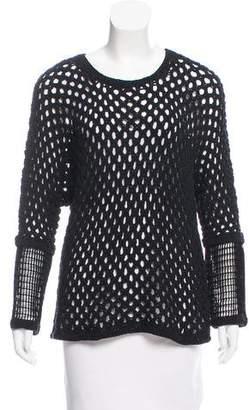 Yigal Azrouel Velvet-Accented Open Knit Sweater