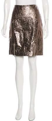 Naeem Khan Metallic Leather Skirt w/ Tags