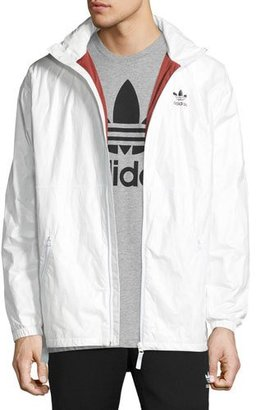 Adidas Wind-Resistant Zip-Front Hooded Track Jacket, White $100 thestylecure.com