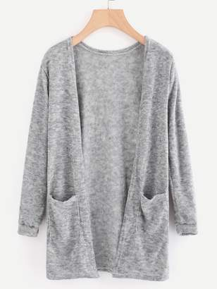 Shein Open Front Cardigan With Pockets