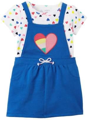 Carter's Baby Girl Blue Heart Jumper & Bodysuit Set